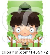 Clipart Graphic Of A 3d Mad Park Ranger Boy In The Woods Royalty Free Vector Illustration