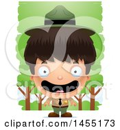 Clipart Graphic Of A 3d Happy Park Ranger Boy In The Woods Royalty Free Vector Illustration