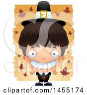 Clipart Graphic Of A 3d Grinning Pilgrim Boy Over Leaves Royalty Free Vector Illustration