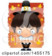 Clipart Graphic Of A 3d Mad Pilgrim Boy Over Leaves Royalty Free Vector Illustration