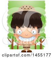 April 27th, 2017: Clipart Graphic Of A 3d Grinning Safari Boy Against Trees Royalty Free Vector Illustration by Cory Thoman