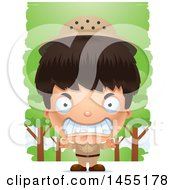 April 27th, 2017: Clipart Graphic Of A 3d Mad Safari Boy Against Trees Royalty Free Vector Illustration by Cory Thoman