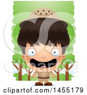 April 27th, 2017: Clipart Graphic Of A 3d Happy Safari Boy Against Trees Royalty Free Vector Illustration by Cory Thoman