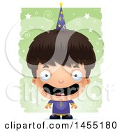 Clipart Graphic Of A 3d Happy Wizard Boy Over A Spiral And Star Pattern Royalty Free Vector Illustration