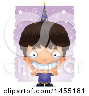 Clipart Graphic Of A 3d Grinning Wizard Boy Over A Spiral And Star Pattern Royalty Free Vector Illustration