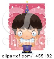 Clipart Graphic Of A 3d Mad Wizard Boy Over A Spiral And Star Pattern Royalty Free Vector Illustration