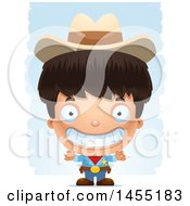 Clipart Graphic Of A 3d Grinning Boy Cowboy Sheriff Over Strokes Royalty Free Vector Illustration