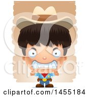 Clipart Graphic Of A 3d Mad Boy Cowboy Sheriff Over Strokes Royalty Free Vector Illustration