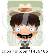 Clipart Graphic Of A 3d Happy Boy Cowboy Sheriff Over Strokes Royalty Free Vector Illustration