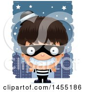 Clipart Graphic Of A 3d Grinning Robber Boy Against A City At Night Royalty Free Vector Illustration