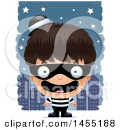 Clipart Graphic Of A 3d Happy Robber Boy Against A City At Night Royalty Free Vector Illustration