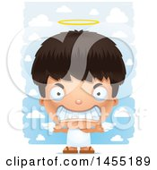 Clipart Graphic Of A 3d Mad Angel Boy Over Clouds Royalty Free Vector Illustration