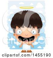 Clipart Graphic Of A 3d Happy Angel Boy Over Clouds Royalty Free Vector Illustration