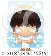 Clipart Graphic Of A 3d Grinning Angel Boy Over Clouds Royalty Free Vector Illustration