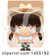 Clipart Graphic Of A 3d Mad Girl Cowboy Sheriff Over Strokes Royalty Free Vector Illustration