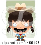 Clipart Graphic Of A 3d Happy Girl Cowboy Sheriff Over Strokes Royalty Free Vector Illustration