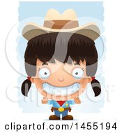 Clipart Graphic Of A 3d Grinning Girl Cowboy Sheriff Over Strokes Royalty Free Vector Illustration