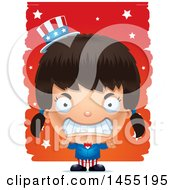 Clipart Graphic Of A 3d Mad American Uncle Sam Girl Against Strokes Royalty Free Vector Illustration