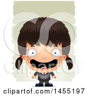 Clipart Graphic Of A 3d Happy Business Girl Against Strokes Royalty Free Vector Illustration