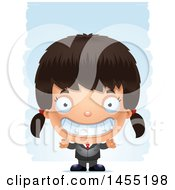 Clipart Graphic Of A 3d Grinning Business Girl Against Strokes Royalty Free Vector Illustration