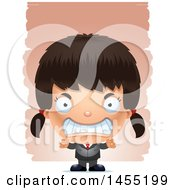 Clipart Graphic Of A 3d Mad Business Girl Against Strokes Royalty Free Vector Illustration
