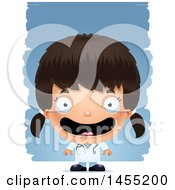 Clipart Graphic Of A 3d Happy Girl Doctor Surgeon Over Strokes Royalty Free Vector Illustration