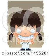 Clipart Graphic Of A 3d Grinning Girl Doctor Surgeon Over Strokes Royalty Free Vector Illustration