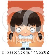Clipart Graphic Of A 3d Mad Girl Doctor Surgeon Over Strokes Royalty Free Vector Illustration