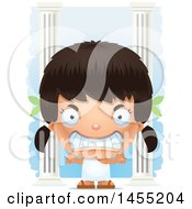 Clipart Graphic Of A 3d Mad Greek Girl With Columns Royalty Free Vector Illustration