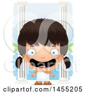 Clipart Graphic Of A 3d Happy Greek Girl With Columns Royalty Free Vector Illustration