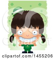Clipart Graphic Of A 3d Grinning Irish Girl Over St Patricks Day Shamrocks Royalty Free Vector Illustration