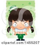 Clipart Graphic Of A 3d Mad Irish Girl Over St Patricks Day Shamrocks Royalty Free Vector Illustration