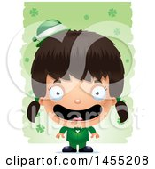 Clipart Graphic Of A 3d Happy Irish Girl Over St Patricks Day Shamrocks Royalty Free Vector Illustration