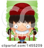 Clipart Graphic Of A 3d Grinning Lumberjack Girl In The Woods Royalty Free Vector Illustration