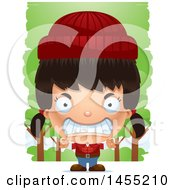 Clipart Graphic Of A 3d Mad Lumberjack Girl In The Woods Royalty Free Vector Illustration