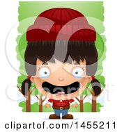 Clipart Graphic Of A 3d Happy Lumberjack Girl In The Woods Royalty Free Vector Illustration