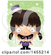 Clipart Graphic Of A 3d Happy Magician Girl Over A Spiral And Star Pattern Royalty Free Vector Illustration