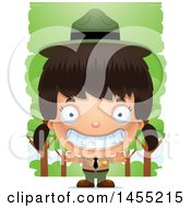 Clipart Graphic Of A 3d Grinning Park Ranger Girl In The Woods Royalty Free Vector Illustration