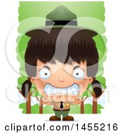 Clipart Graphic Of A 3d Mad Park Ranger Girl In The Woods Royalty Free Vector Illustration