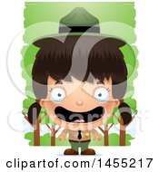Clipart Graphic Of A 3d Happy Park Ranger Girl In The Woods Royalty Free Vector Illustration