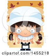Clipart Graphic Of A 3d Grinning Pilgrim Girl Over Leaves Royalty Free Vector Illustration