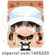 Clipart Graphic Of A 3d Mad Pilgrim Girl Over Leaves Royalty Free Vector Illustration