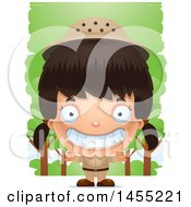 Clipart Graphic Of A 3d Grinning Safari Girl Against Trees Royalty Free Vector Illustration