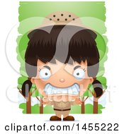 Clipart Graphic Of A 3d Mad Safari Girl Against Trees Royalty Free Vector Illustration