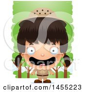 Clipart Graphic Of A 3d Happy Safari Girl Against Trees Royalty Free Vector Illustration