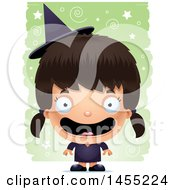 Clipart Graphic Of A 3d Happy Witch Girl Over A Spiral And Star Pattern Royalty Free Vector Illustration