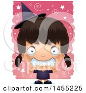 Clipart Graphic Of A 3d Mad Witch Girl Over A Spiral And Star Pattern Royalty Free Vector Illustration