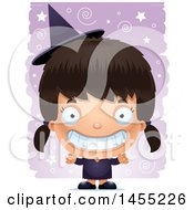 Clipart Graphic Of A 3d Grinning Witch Girl Over A Spiral And Star Pattern Royalty Free Vector Illustration