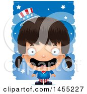 Clipart Graphic Of A 3d Happy American Uncle Sam Girl Against Strokes Royalty Free Vector Illustration