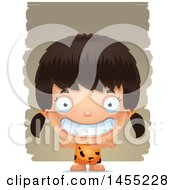 Clipart Graphic Of A 3d Grinning Caveman Girl Over Strokes Royalty Free Vector Illustration